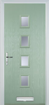 Buy 4 Square Glazed FD30s Composite Fire Door in Chartwell Green Online