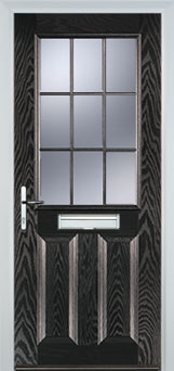 2 Panel 1 Grill Composite Cottage Door in Black Brown