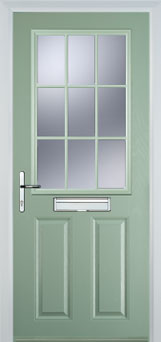 2 Panel 1 Grill Composite Cottage Door in Chartwell Green