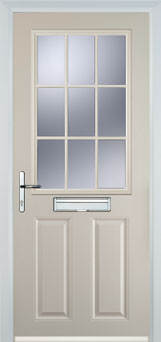 2 Panel 1 Grill Composite Cottage Door in Cream