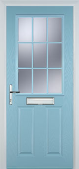 2 Panel 1 Grill Composite Cottage Door in Duck Egg Blue