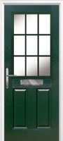 2 Panel 1 Grill Composite Cottage Door in Green