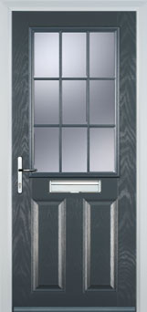2 Panel 1 Grill Composite Cottage Door in Grey