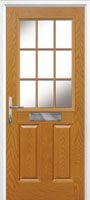 2 Panel 1 Grill Composite Cottage Door in Oak