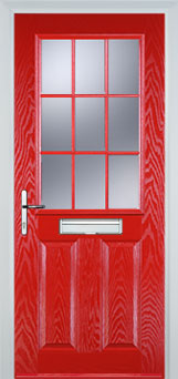 2 Panel 1 Grill Composite Cottage Door in Poppy Red