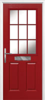 2 Panel 1 Grill Composite Cottage Door in Red