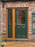 green composite door with green side panels