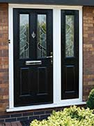 black composite door with composite side panel