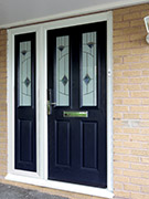 blue composite door with composite side panel