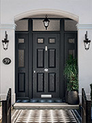 grey composite door with grey composite side lights