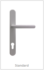 white lever handles