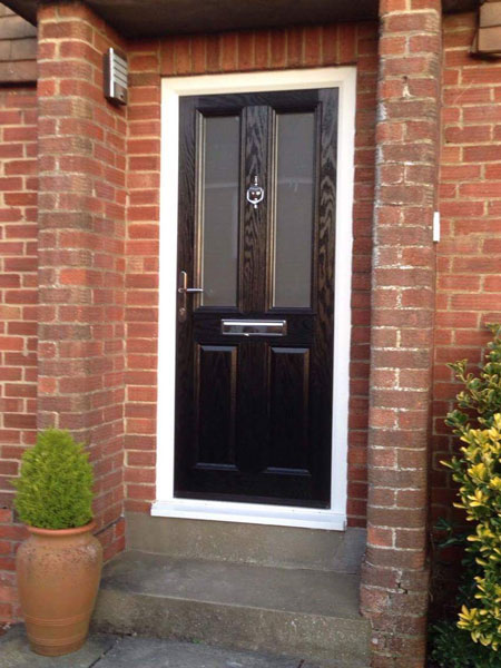 Door Style Purchased 2 Panel Square Glazed Composite Front In Black