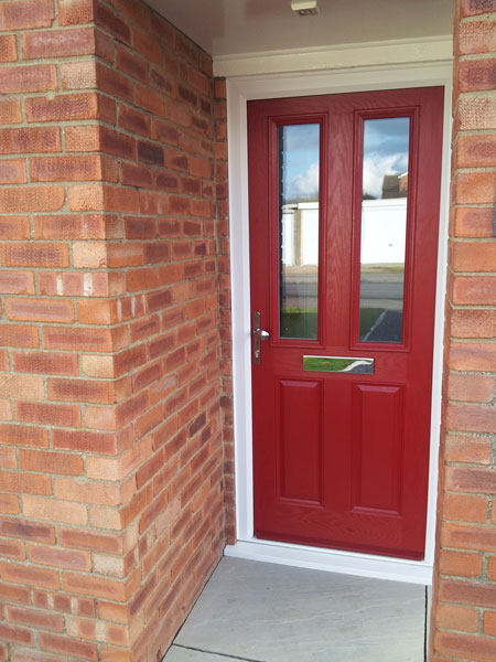 Door Style Purchased 2 Panel Square Glazed Composite Front In Red