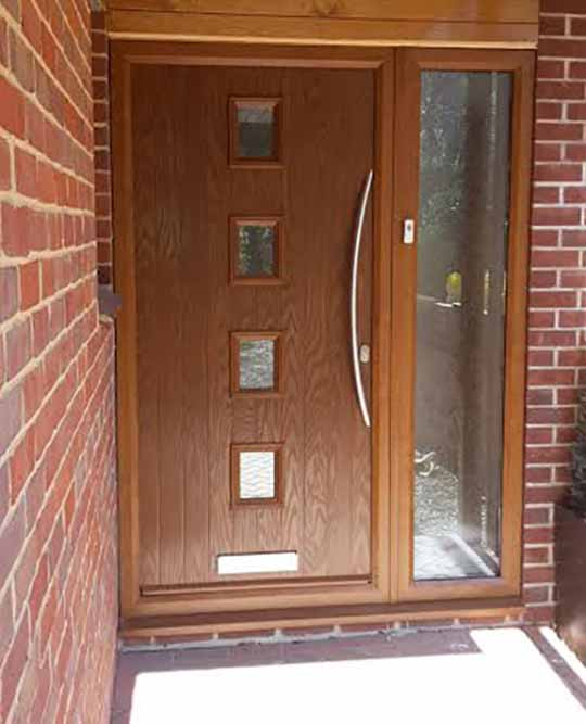 oak composite front door with long bow style handle