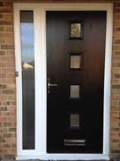 composite door with fully glazed side panel