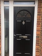 black composite door with glazed side panel & top light