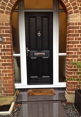 composite door with 2 glazed side panels & top light combination