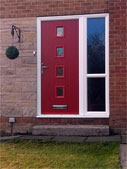 red composite door with side panel and mid rail