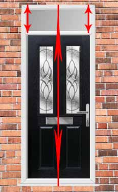 how to measure the height of a upvc door and top light