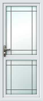 Full Glass Mid Rail Border Square Lead UPVC Door