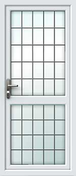 Full Glass Mid Rail Square Lead UPVC Door